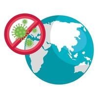 Planet Earth with coronavirus icon vector