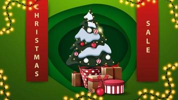 Discount banner with ribbons, garland and Christmas tree vector