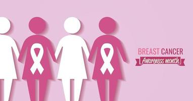 Breast cancer awareness month banner with women silhouette vector