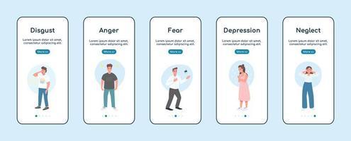 Pantalla de aplicación móvil de incorporación de emociones negativas vector