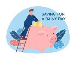 Man putting coin in piggy bank vector