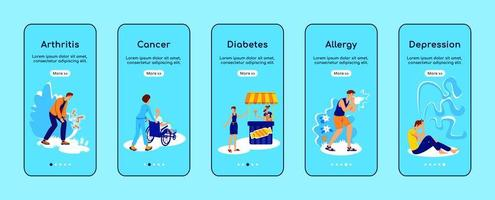 Chronic diseases onboarding mobile app screen vector