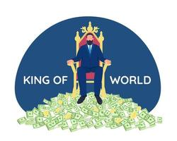 Successful businessman sitting on throne vector