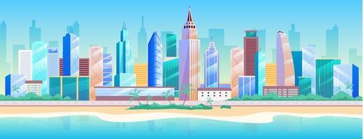 Seaside metropolis cityscape vector