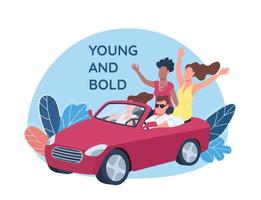 Young people driving red convertible car vector
