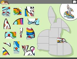 juego de rompecabezas con conejito de pascua de dibujos animados vector