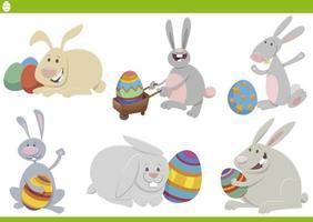 Easter bunnies holiday set cartoon vector