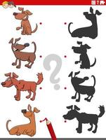 juego de sombras con personajes de perros cómicos vector