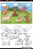 perros y cachorros, caracteres, grupo, libro colorear, página vector