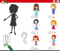 Shadows game with cartoon girl characters vector