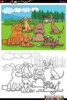 Dibujos animados de grupo de perros y cachorros página de libro para colorear vector