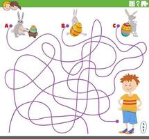 Maze game with boy and Easter bunnies characters vector