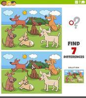 Tarea de diferencias con el grupo de personajes de perros. vector