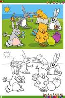 Easter bunnies and chicks characters coloring book page
