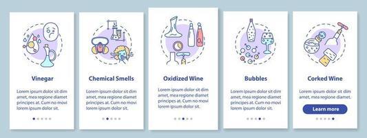 pantalla de la página de la aplicación móvil de incorporación de cata de vinos vector
