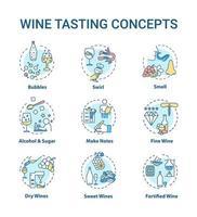 conjunto de iconos de concepto de cata de vinos. vector