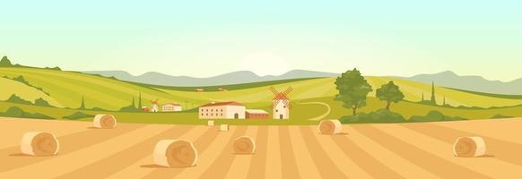 Farm in countryside landscape vector