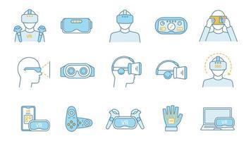 Virtual reality color icons set. vector