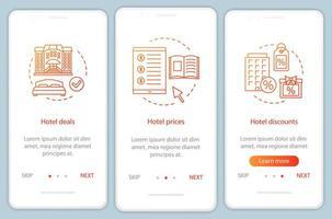 pantalla de la página de la aplicación móvil de incorporación de reservas en línea vector