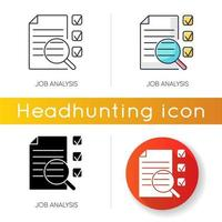 Job analysis icons vector