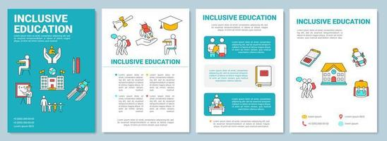 Inclusive education brochure template. Learning program for disabled. vector
