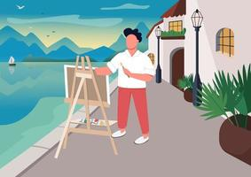 Artist painting at seaside