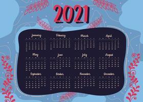 modern style 2021 new year calendar design in geometric style