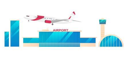 conjunto de objetos de aeropuerto vector