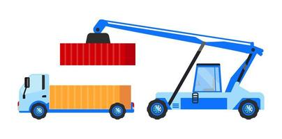 camión de carga y grúa móvil vector