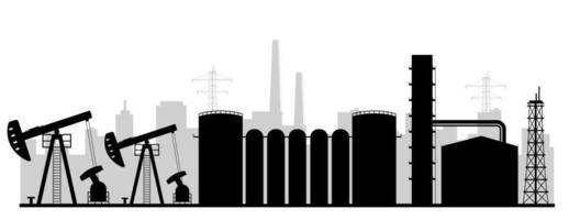 Refinery plant black silhouette vector