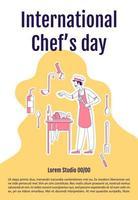 cartel del día internacional del chef vector