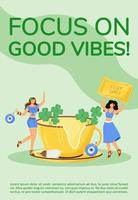 Focus on good vibes poster vector