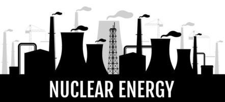 banner de silueta negra de energía nuclear vector