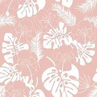 Seamless tropical pattern with white monstera leaves
