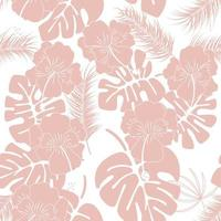 Seamless tropical pattern with pink monstera leaves