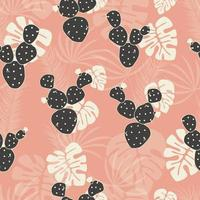 Seamless tropical pattern with monstera palm leaves
