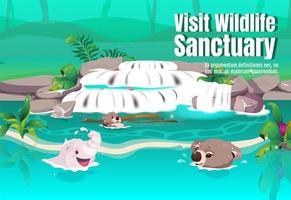 visita el cartel del santuario de vida silvestre vector