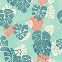 Seamless pattern with monstera palm leaves