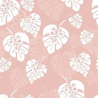 Summer seamless pattern with white monstera palm leaves