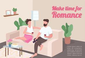 hacer tiempo para el cartel del romance vector