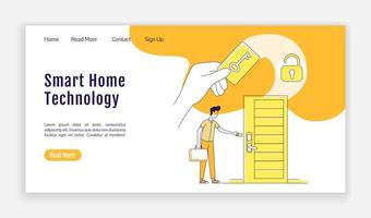 página de inicio de tecnología inteligente para el hogar vector