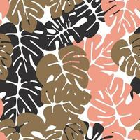 Summer seamless pattern with colorful monstera palm leaves