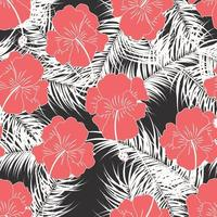 Seamless tropical pattern with white leaves and flowers