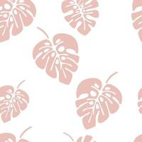 Summer seamless pattern with pink monstera palm leaves