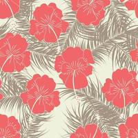 Seamless tropical pattern with brown leaves and flowers