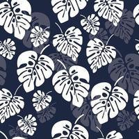 patrón sin costuras de verano con hojas de palma monstera blanca