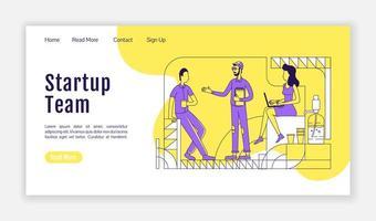 página de inicio del equipo de inicio vector