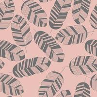 Seamless pattern with gray leaves on pink background