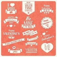 colección de etiquetas vintage de san valentín vector