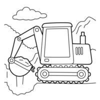 Excavator Coloring Page vector